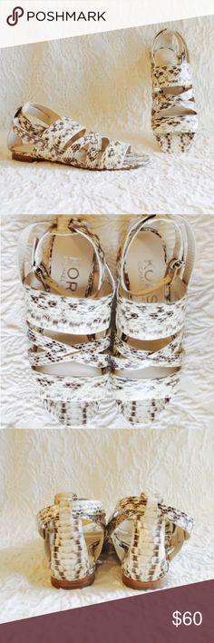 Michael Kors Snake Skin Strap Sandals In excellent condition Michael Kors Snake Skin Leather Strap Sandals /Shoes. Size 6.5 Michael Kors Shoes Sandals