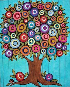 Folk Art painting - Folk Art Tree by Karla Gerard. Zentangle, Karla Gerard, Wal Art, Arte Popular, Naive Art, Whimsical Art, Art Plastique, Art Lessons, Art For Kids