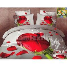 Bavlnené posteľné obliečky s motívom červenej ruže Bedroom Bed, Bedroom Decor, Gothic Home Decor, Gothic House, Bedding Sets, Gift Wrapping, Flowers, Gifts, Bed Sets