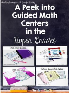 Guided Math in Upper Elementary (Free Math Centers Included!) - Teaching with Jennifer Findley Take a peek into what guided math centers look like in my upper grades classroom. Lots of FREE guided math centers included. Sixth Grade Math, Fourth Grade Math, Third Grade, Seventh Grade, Fifth Grade, Math Rotations, Math Centers, Numeracy, 5th Grade Centers