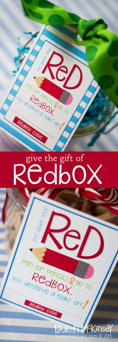 Give the gift of a RedBox movie night :: a fun thank you gift for teachers & administrators from Lauren McKinsey