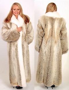 coyote & white fox fur coat