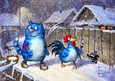 Просмотреть иллюстрацию Кот и Петух дежурят в Новогоднюю ночь из сообщества русскоязычных художников автора Рина З. в стилях: Классика, нарисованная техниками: Растровая (цифровая) графика.