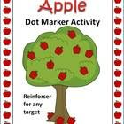Free! Fun in the orchard! My Apple Dot Marker Activity Is open- ended to reinforce learning any skill. Use it with dot markers, dry erase markers, or bingo chips. Play a game or just have fun coloring the apples. #speechsprouts