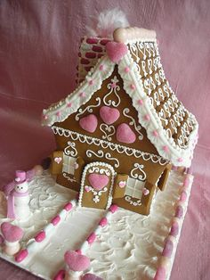 Valentine Gingerbread House by With Love & Confection.I've always wanted to do a Valentine's gingerbread house/village. Gingerbread House Designs, Christmas Gingerbread House, Noel Christmas, Pink Christmas, Christmas Goodies, Christmas Treats, Christmas Baking, All Things Christmas, Christmas Decorations