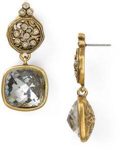 T Tahari Essentials Gold Crystal Stone Linear Earrings