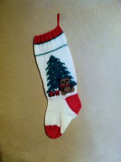 Hand Knit  Christmas Stocking by threeknitters on Etsy, $50.00