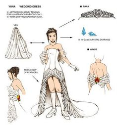 Zelda wedding dress design wow this is beyond similar to what I want Final Fantasy Cosplay, Shiva Final Fantasy, Final Fantasy Artwork, Costume Tutorial, Cosplay Tutorial, Final Fantasy Female Characters, Yuna Cosplay, Fantasy Wedding Dresses, Gothic