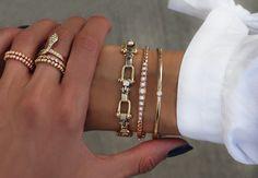 14kt gold diamond stud bangle – Luna Skye