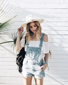 white or blue jean overalls