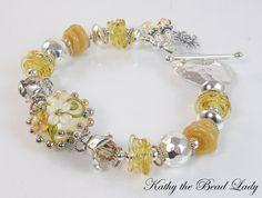 Lampwork Bracelet Sunshine Lampwork Karen Hill Tribe by katinn