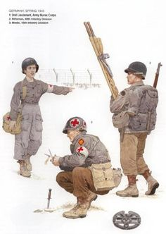U.S Army GERMANY spring 1945 - 1 2nd Leutnant, Army Nurse Corps - 2 Rifleman, 86th Infantry Division - 3 Medic, 4th Infantry Division