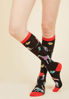 Knit's a Jungle Out There Socks - Black, Red, Print with Animals, Print, Casual, Safari, Critters, Fall, Winter, Good, Knee-High, Cotton, Knit, Critter Gifts, Under 50 Gifts, Under 25 Gifts