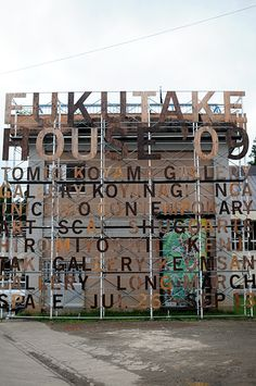 The signage and information graphics for Fukutake House Retail Facade, Retail Signage, Environmental Graphics, Environmental Design, Building Facade, Building Design, Exhibition Plan, Museum Branding, Temporary Architecture