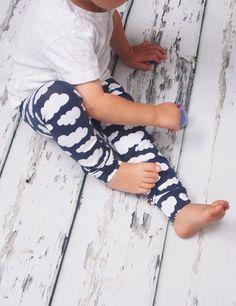 Baby Leggings - Navy Cloud Leggings -Toddler Girl -Toddler Boy - Unisex Leggings - Baby Pants - Blue Leggings -Baby Clothes - Girls Clothing
