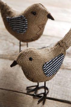 Cute Burlap Bird Pair with Striped WIngs