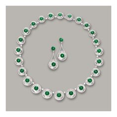JADEITE 'HUAIGU', DIAMOND AND COLOURLESS HARDSTONE NECKLACE AND PAIR OF MATCHING PENDENT EARRINGS The necklace composed of twenty-four double cabochon colourless hardstones, spaced by brilliant-cut diamonds, each hardstone set in the centre with a highly translucent jadeite huaigu of intense emerald green colour, to an outer surround of brilliant-cut diamonds; and pair of matching pendent earrings; the diamonds altogether weighing approximately 10.25 carats, mounted in 18 karat white gold