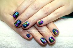 CND Shellac nails in Midnight Swim plus foil nail art.  A firm favourite.  #cndshellac #christmas #salcombe #nailart