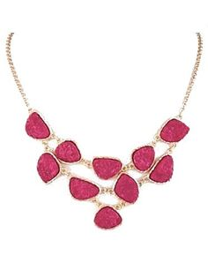 Druzy Link Necklace in Fuchsia - $20.00 : FashionCupcake, Designer Clothing, Accessories, and Gifts