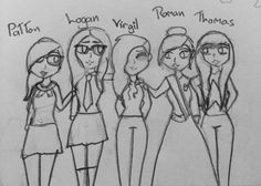 Genderbent Patton, Logan, Virgil, Roman, and Thomas