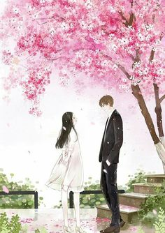 Romantic dream date  Just beneath sakura trees