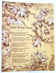Easter Bunny's Secret, Beautifully Illustrated Poem with Jack Frost,  Vintage 1960s Page from Children's Easter Book.