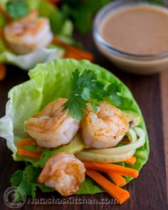 Shrimp Lettuce Wraps with Peanut Dipping Sauce Recipe ~ These shrimp lettuce wraps make for one fantastic, delicious and super impressive (Gluten free – mind you) meal.