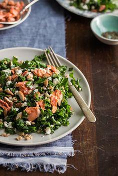 Kale Salad with Roasted Salmon, Farro, Almonds, and a Lemony Vinaigrette