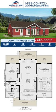 Plan 940-00313 features a Country home design with 1,668 sq. ft., 2 bedrooms, 2 bathrooms, vaulted ceilings, an open floor plan, and a mudroom. #countryhome #countrystyle #architecture #houseplans #housedesign #homedesign #homedesigns #architecturalplans #newconstruction #floorplans #dreamhome #dreamhouseplans #abhouseplans #besthouseplans #newhome #newhouse #homesweethome #buildingahome #buildahome #residentialplans #residentialhome