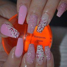 Baby light pink glitter coffin