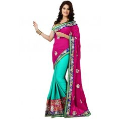 Blue and Pink Georgette #Saree With #Blouse #Fashion