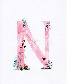 Buchstabe N-Aquarell-Monogramm-Print von DesignBySoo auf Etsy