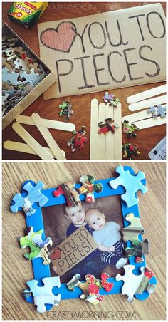 Love you to pieces father's day craft/gift idea from the kids! Make a popsicle stick frame :) gifts for mothers day, mothers day dyi ideas, first mothers day gifts you to pieces father's day craft/gift idea from the kids! Make a popsicle stick frame :) Diy Gifts For Dad, Diy Father's Day Gifts, Father's Day Diy, Craft Gifts, Fathers Day Frames, Fathers Day Cards, Fathers Gifts, Grandpa Gifts, Preschool Fathers Day Gifts