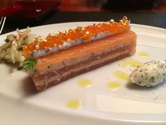 Image result for confit salmon canape robuchon Joel Robuchon, Salmon Canapes, Starters, Tuna, Fish, Meat, Dining, Tokyo, Image