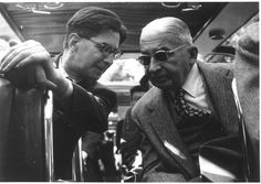 Ludwig von Mises and Carlo Antoni, taking during a Mont Pelerin Society meeting in the early 1950