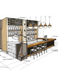 Sketches: a fragment of a bar counter small … Sketches: a fragment of the bar counter of a small restaurant in Astana. Everything is still under construction. Sketch of a small restaurant in Astana. All is under construction. Small Restaurant Design, Restaurant Interior Design, Sketch Restaurant, Coffee Shop Interior Design, Coffee Shop Design, Kiosk Design, Cafe Design, Bar Counter Design, Cafe Concept