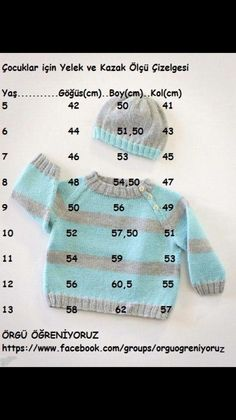 "Diy Crafts - ""cocuklar icin yelek ve kazak olcu cizelgesi baby kids junior crochet knitting vest and sweater diagram - PIPicStats"", "" Enter Knitting For Kids, Baby Knitting Patterns, Crochet For Kids, Baby Patterns, Knit Crochet, Cardigan Bebe, Knitted Baby Cardigan, Knitted Hats, Baby Vest"