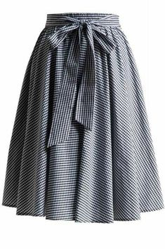 This cute gingham retro inspired swing skirt is a must have for any gal. Stretch waist band allowing a versatile fit and maximum comfort. The bow at waist can be tied in front or back. Made in the USA retro Gingham Swing Skirt with Stretch Waist in Black Modest Outfits, Skirt Outfits, Modest Fashion, Hijab Fashion, Fashion Dresses, Cute Outfits, Apostolic Fashion, Modest Clothing, Jupe Swing