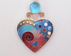Gran corazón colgante - esmalte corazón - Cloisonne azul grande ' corazón colgante - topacio azul - este pedazo está disponible por orden