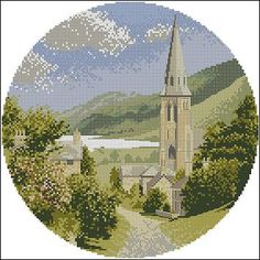 "cross-stitch design ""Lakeside Village"" by  John Clayton   Pattern Name: Lakeside Village Fabric: Aida 14, White 140w X 140h Stitches Size(s): 14 Count,   25.40w X 25.40h cm 16 Count,   22.22w X 22.22h cm 18 Count,   19.76w X 19.76h cm 11 Count,   32.33w X 32.33h cm   Colors: 25 DMC For the purchase of this pattern …"