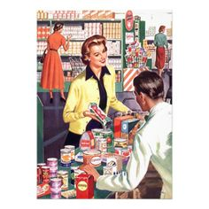 Shop Retro Grocery Check-out Pantry Party Stock Kitchen Invitation created by nostalgicjourney. Personalize it with photos & text or purchase as is! Pin Up Vintage, Pub Vintage, Images Vintage, Photo Vintage, Moda Vintage, Vintage Woman, Retro Images, Vintage Housewife, 1950s Housewife
