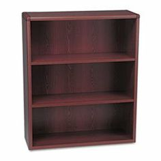 * 10700 Series Bookcase, 3 Shelves, 36w x 13-1/8d x 43-3/8h, Mahogany by MotivationUSA. $330.81. * A modular management solution that combines stylish profiles and elegant accents with top-grade fit and finish. Laminate accented by rounded corners and waterfall edge for a contemporary look. Finished back provides a clean, professional appearance and allows placement anywhere--not just against a wall. Shelf count includes bottom of bookcase. Color: Mahogany; Material:...