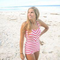 Retro Striped One Piece Swimsuit by BeverlySwimwear on Etsy
