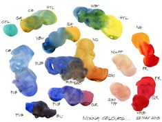 Mixing colours : Liz Steel Watercolor Mixing, Watercolor Art Lessons, Watercolor Techniques, Watercolour Painting, Painting & Drawing, Watercolors, Watercolour Palette, Watercolor Ideas, Image Notes