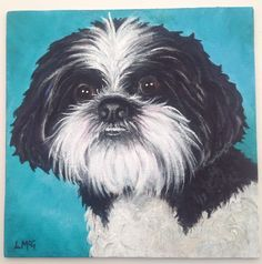 'Harvey' painted in acrylics. Shih Tzu