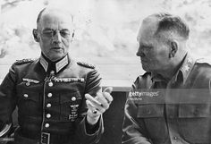 Generalfeldmarschall and oberbefehlshaber der OB West, Karl Rudolf Gerd von Rundstedt (left), and US Major General Frank W. Milburn, after von Rundsted's capture at Munich.