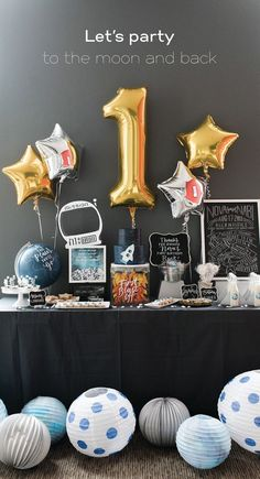 Take your guests to the moon and back with party décor that is truly out of this world. Be inspired by this first birthday party for a sweet little astronaut and create your own galaxy of planets using white paper lanterns, tissue paper and paint. Birthday Themes For Boys, First Birthday Decorations, Baby First Birthday, Boy Birthday Parties, Birthday Party Invitations, Birthday Ideas, 1 Year Birthday, First Birthday Party Themes, Astronaut Party
