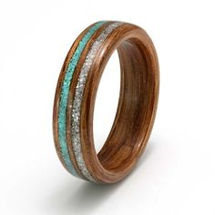 Eco Wood Rings. Oak ring with inlays of mother of pearl and diamond dust and turquoise C319
