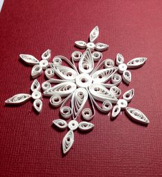 Handmade quilling card: Quilled white snowflake for