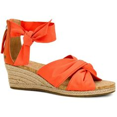 Ugg Starla Wedge Espadrille Sandals ($100) ❤ liked on Polyvore featuring shoes, sandals, hazard orange, wedge heel sandals, wedge sandals, orange shoes, orange sandals and ugg® australia shoes